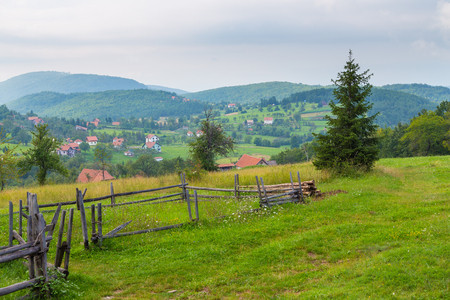 Scenic landscape view in Serbian Tara mountain, Sirogojno, Serbia. 스톡 콘텐츠