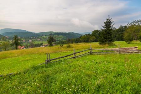 Scenic landscape view in Serbian Tara mountain, Sirogojno, Serbia. Stock Photo