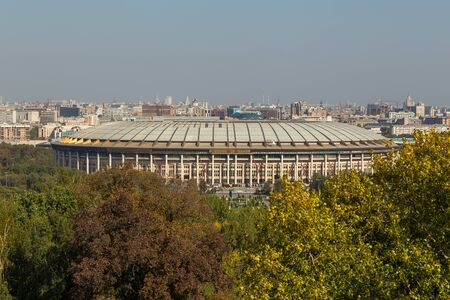 Moscow, Russia- 21 September 2014: Luzhniki Stadium, national and the largest football stadium of Russia. It is part of the Luzhniki Olympic Complex, and is located in Khamovniki District. 新聞圖片