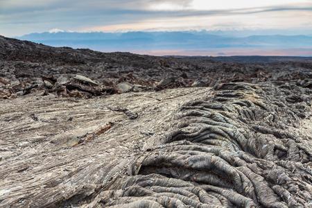 Bizarre formation on fresh lava field, Kamchatka Peninsula in the far east of Russia. Stock Photo