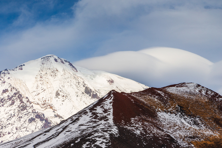 Snow- capped Mount volcanoes, volcanic massive, one of the volcanic complex on the Kamchatka Peninsula in the far east of Russia. Pacific ring fire.