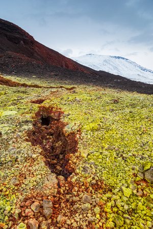 Volcanic landscape on the Kamchatka Peninsula in the far east of Russia. Green moss on black volcanic rock, snow-capped volcanoes in the background. Stock Photo
