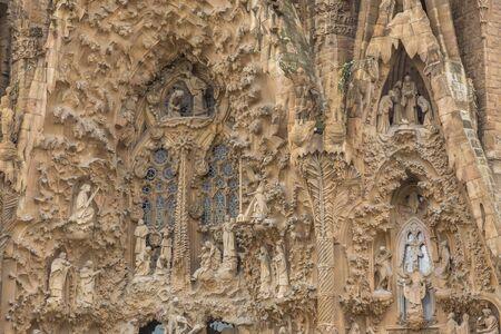Barcelona, Spain- 10 November 2014: View of the Sagrada Familia, Temple Expiatori de la Sagrada Familia. Roman Catholic church, designed by Catalan architect Antoni Gaudi. Archivio Fotografico - 128214290