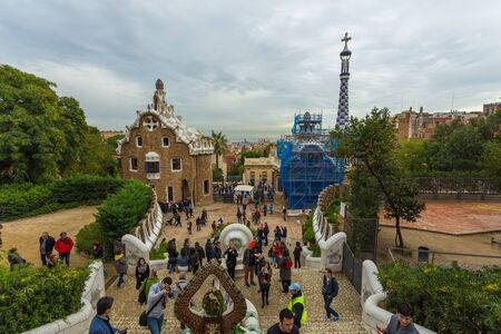 Barcelona, Spain- 10 November 2014: The building at the entrance of the park Guell. Public park system composed of gardens and architectonic elements located on Carmel Hill. Editorial