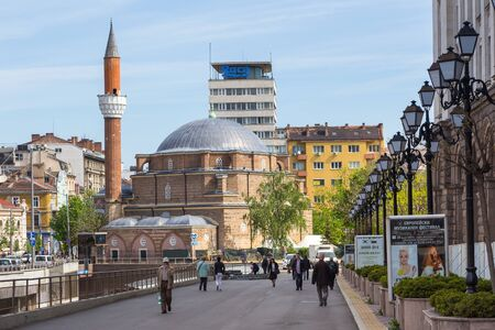 Sofia, Bulgaria- 30 April 2015: View of the Banya Bashi Mosque, the only operating mosque in the city and one of the oldest mosques in Europe.