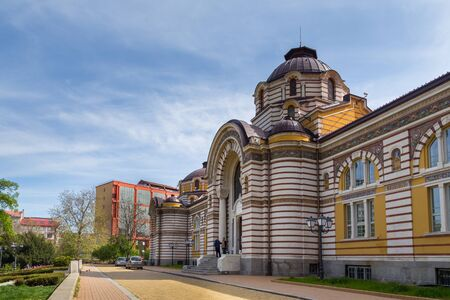 Sofia, Bulgaria- 30 April 2015: View of the Regional History Museum in the historic building of the former Turkish Mineral Baths on Banski Square.