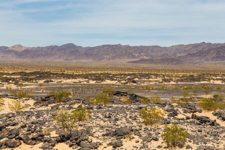 View of the mountains and desert along the legendary Route 66. California Sideways. USA