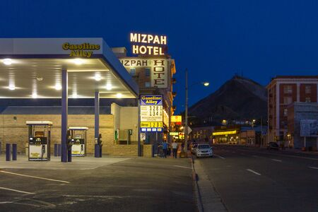 Tonopah, Nevada- 02 June 2015: The Mizpah hotel and the gas station. This historic hotel was the tallest building in Nevada until 1929 and is still open for business.