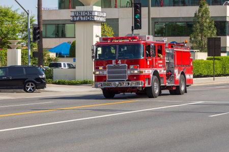 Los Angeles, California, USA- 11 June 2015: Fire brigade car on streets, Los Angeles Fire Dept. Editorial