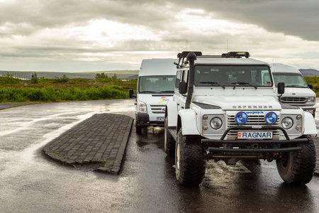 Thingvellir, Iceland- 22 August 2015: Off road cars parked in the Thingvellir Volcanic National Park car park.