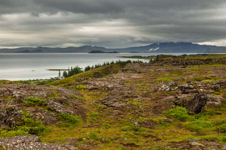 View of the Thingvallavatn, the largest natural lake in Iceland in Thingvellir National Park, Iceland.