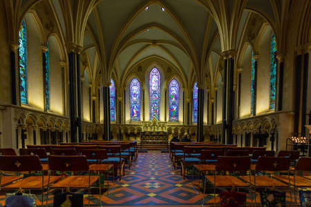 Dublin, Ireland - 09 November 2015: Interior of Saint Patrick Cathedral in Dublin, founded in 1191, is the larger of Dublin two Church of Ireland cathedrals.