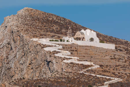View of the Church of Virgin Mary, of Panaghia, above the village of Chora on Folegandros island, Greece.