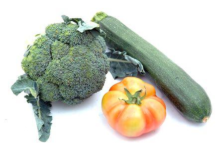 courgette, tomato and broccolis Stock Photo