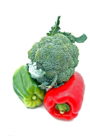 red and green pepper and bruccolis