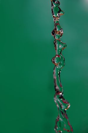 water drop in green background