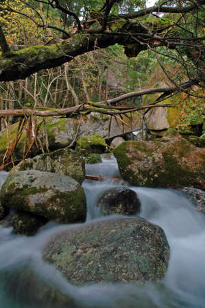 outumn: beautiful waterfall between rocks covered by moss and leaves in outumn Stock Photo