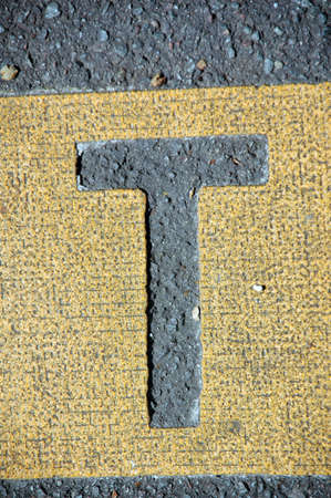 letter t in the road Stock Photo