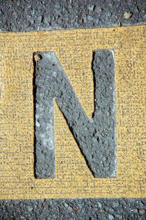 letter n in the road Stock Photo