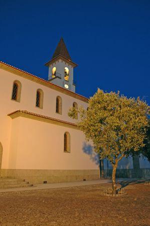 church on a winter night