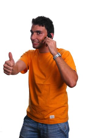 usiness customer services thumbs up over a white background