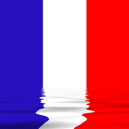 bandiera Francia con la riflessione