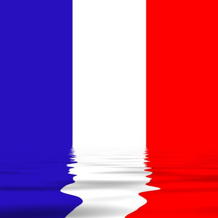 france flag with reflection photo