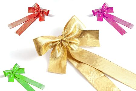 green pink red and gold beautiful bows