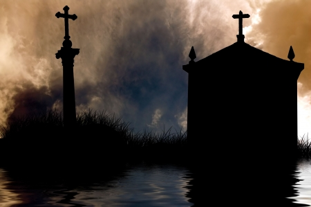 christian church and cross silhouette and the clouds in dramatic sky photo
