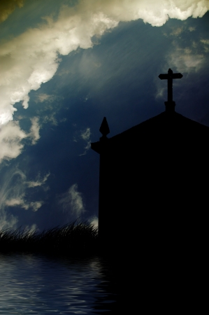 christian church silhouette and the clouds photo