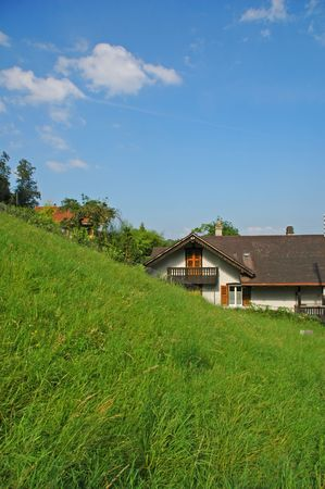 Traditional Swiss rural house in porrentruy photo