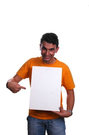 young man pointing to white board photo