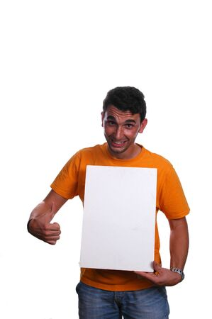 young man pointing to white board