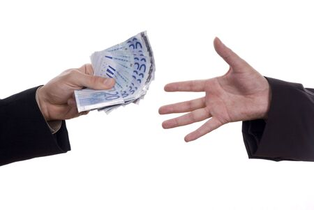 hands giving euro banknotes isolated on white Stock Photo - 17075297