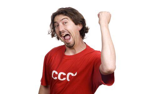 Casual giovane uomo in camicia rossa con l'ex CCCP acronimo sovietico isolato su bianco Archivio Fotografico
