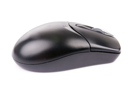 black wireless optical computer mouse, with two buttons and a scroll wheel isolated