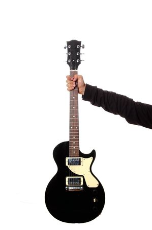 mano con la chitarra isolato su sfondo bianco