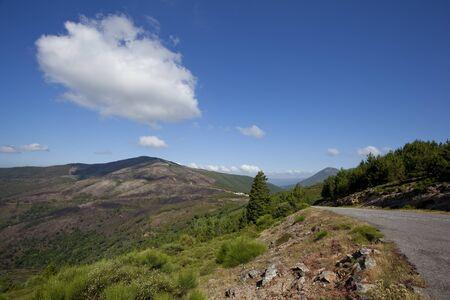 Paesaggio di montagna con strada asfaltata