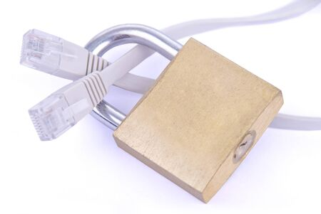 Network security cable with padlock on white background Stock Photo - 17075874