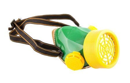 dust mask: Green paint mask with straps isolated on white