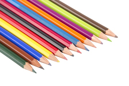Closeup of colored pencils arranged is a row Stock Photo