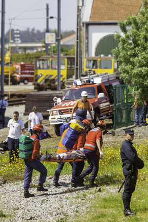 NINE, PORTUGAL - APRIL 12  Emergency workers at a scene of a train accident simulation in Nine train station