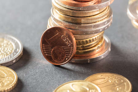 One Cent coin . Economy and personal finance concept. Market growth on Stock Exchange Stock Photo