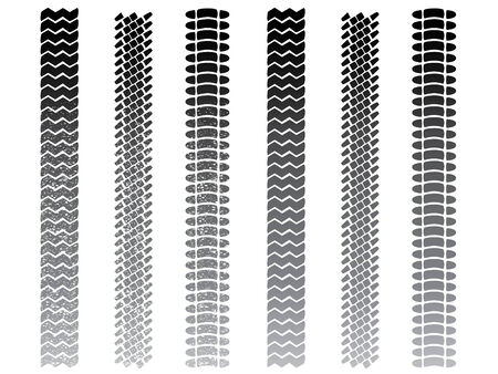 Tyre tracks, clean and muddy sets Vector