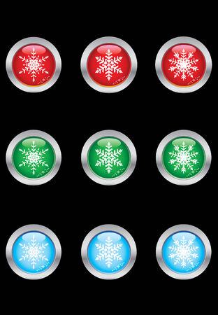 Snowflake button set Vector