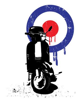 Retro scooter en mod ondertekenen