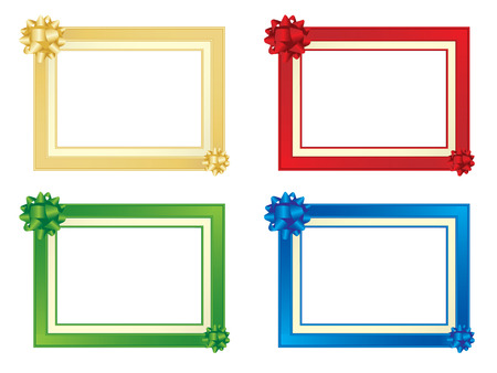 gold picture frame: Set of four frames with bows