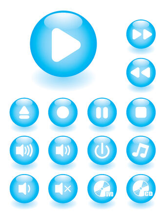 Glossy music button set Vector
