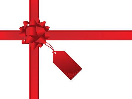 Christmas bow and gift card Vector