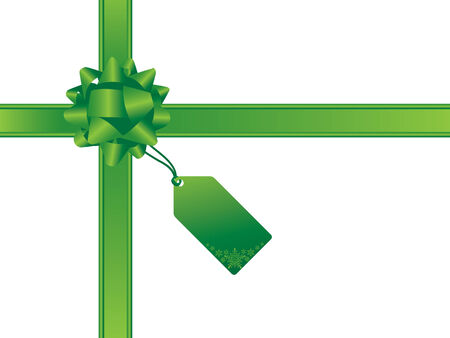 blank gift tag: Christmas bow and gift card.